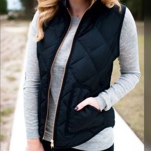 J. Crew Quilted Down Vest Black XXS